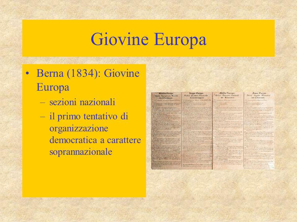 Giovine Europa Berna (1834): Giovine Europa sezioni nazionali