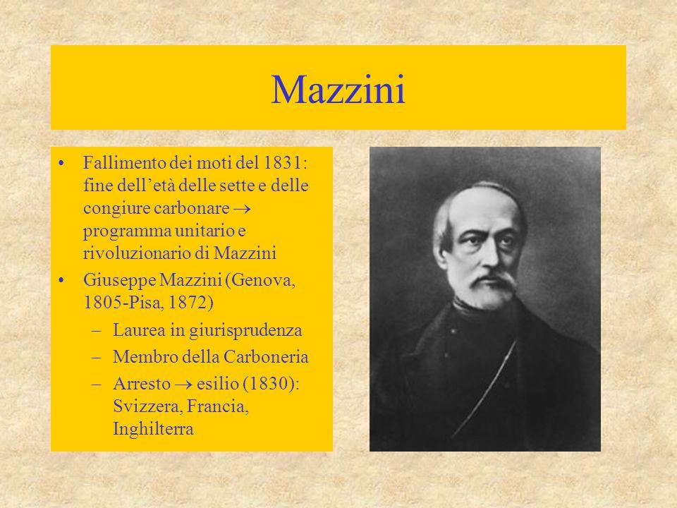 Mazzini Fallimento dei moti del 1831: fine dell'età delle sette e delle congiure carbonare  programma unitario e rivoluzionario di Mazzini.