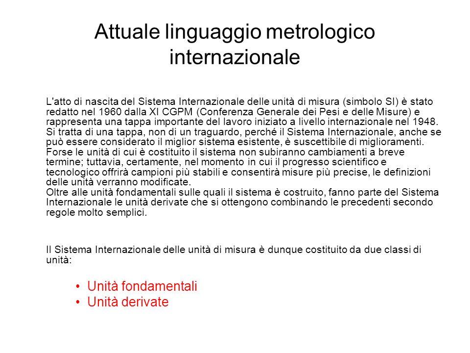 Attuale linguaggio metrologico internazionale