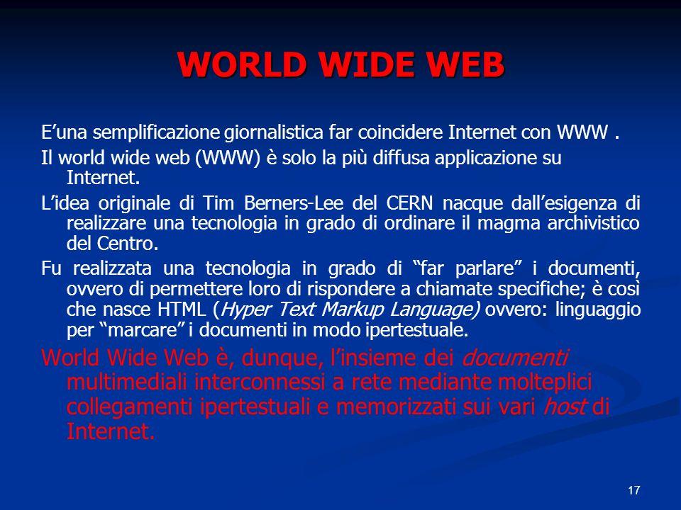 WORLD WIDE WEB E'una semplificazione giornalistica far coincidere Internet con WWW .