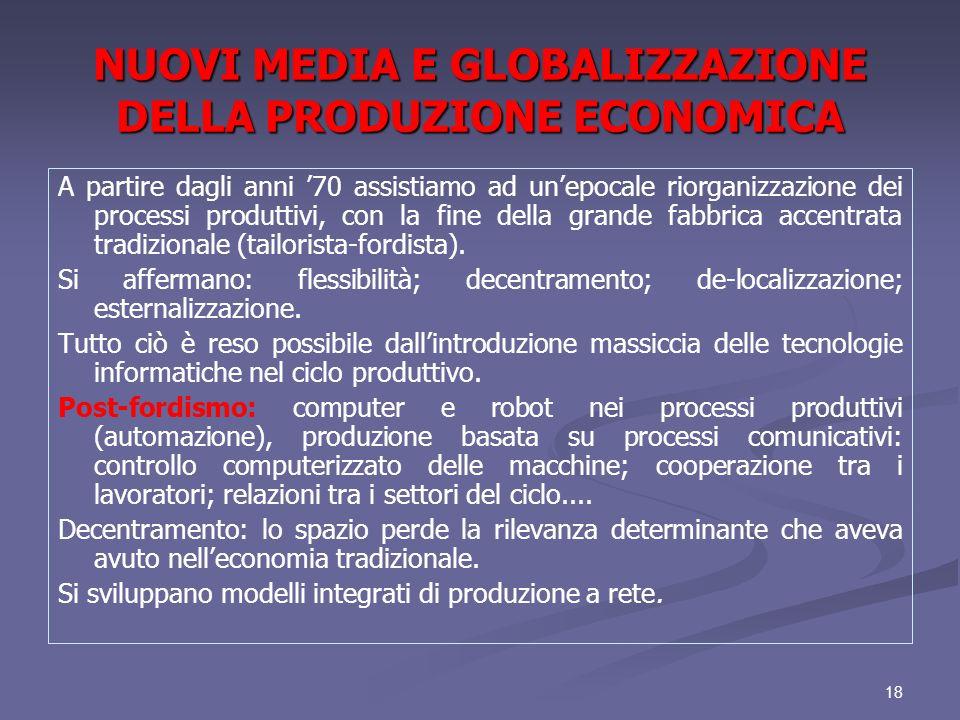 NUOVI MEDIA E GLOBALIZZAZIONE DELLA PRODUZIONE ECONOMICA