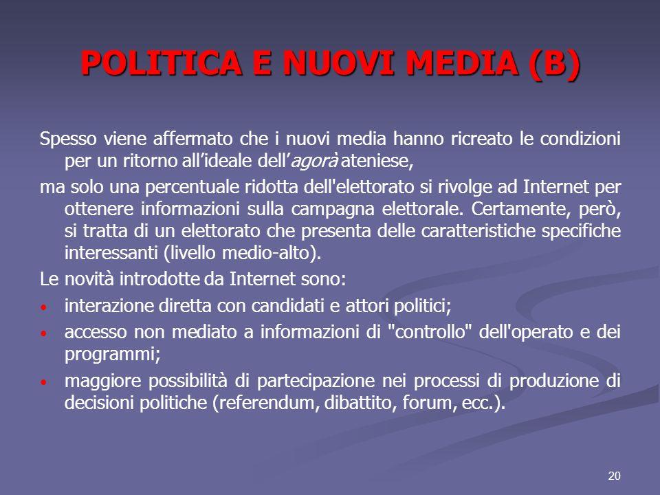 POLITICA E NUOVI MEDIA (B)