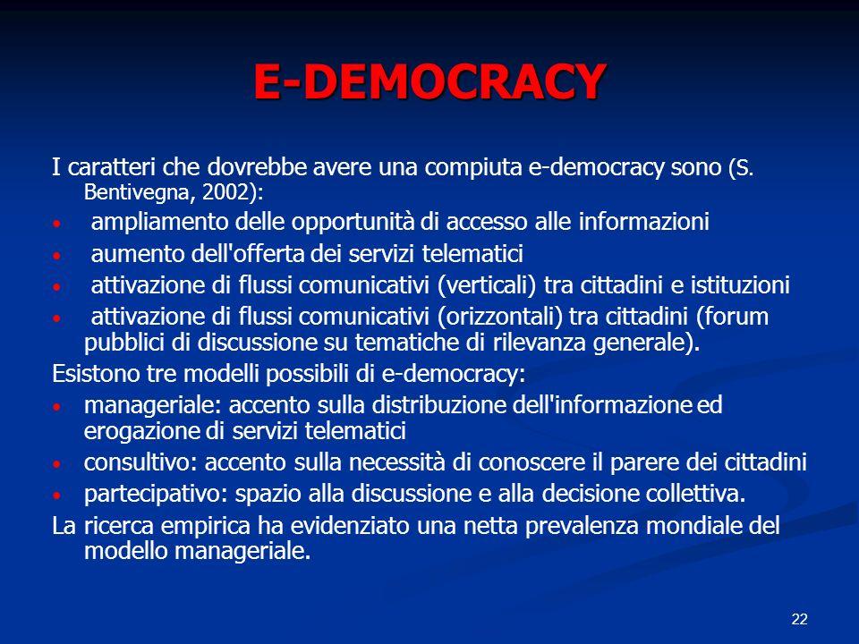 E-DEMOCRACY I caratteri che dovrebbe avere una compiuta e-democracy sono (S. Bentivegna, 2002):