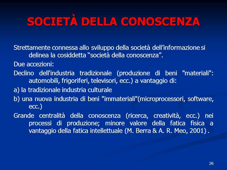 SOCIETÀ DELLA CONOSCENZA