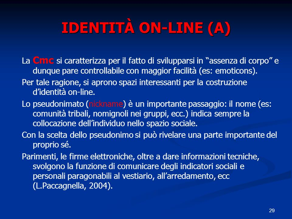 IDENTITÀ ON-LINE (A)