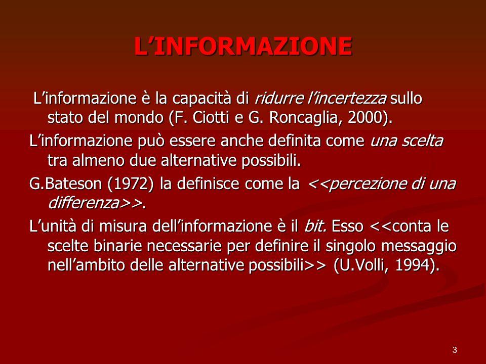 L'INFORMAZIONE L'informazione è la capacità di ridurre l'incertezza sullo stato del mondo (F. Ciotti e G. Roncaglia, 2000).