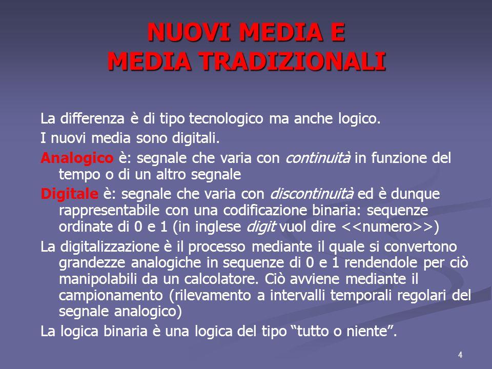 NUOVI MEDIA E MEDIA TRADIZIONALI