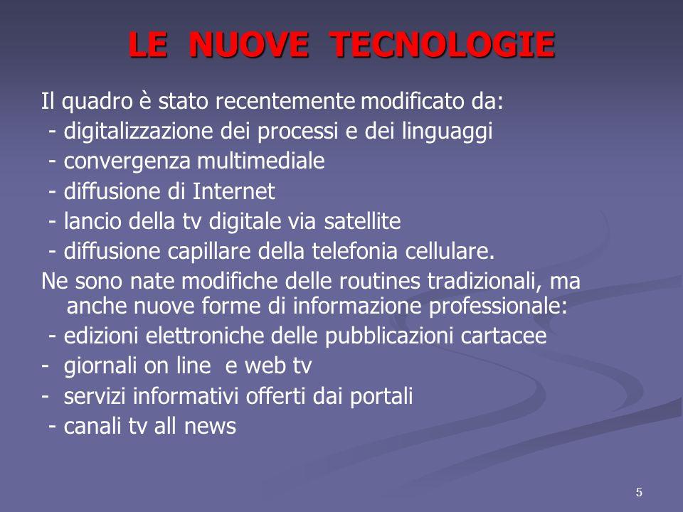 LE NUOVE TECNOLOGIE Il quadro è stato recentemente modificato da: