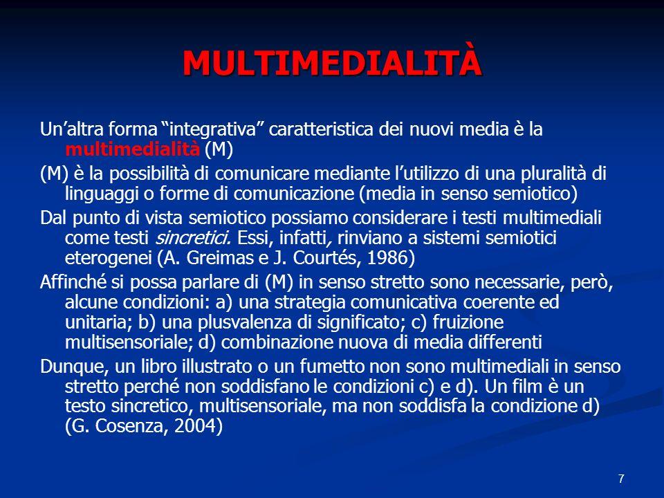 MULTIMEDIALITÀ Un'altra forma integrativa caratteristica dei nuovi media è la multimedialità (M)