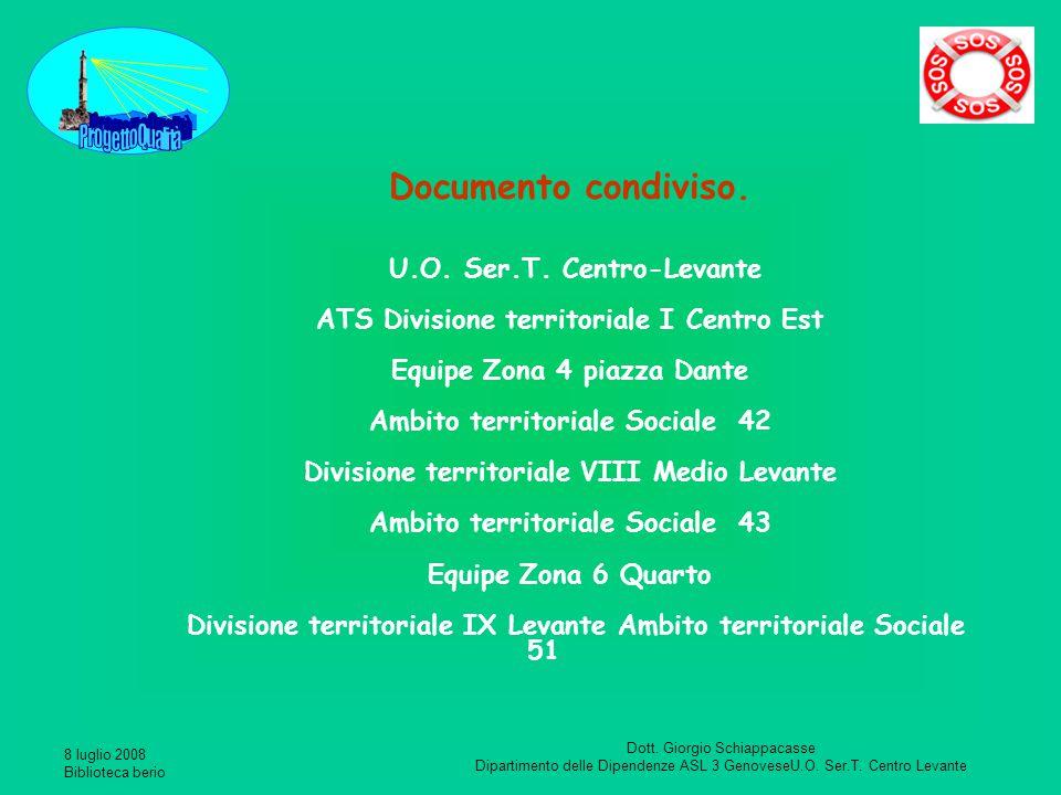 Documento condiviso. U.O. Ser.T. Centro-Levante