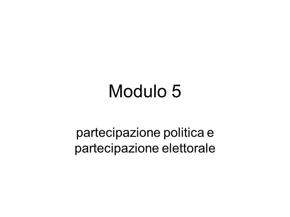 partecipazione politica e partecipazione elettorale