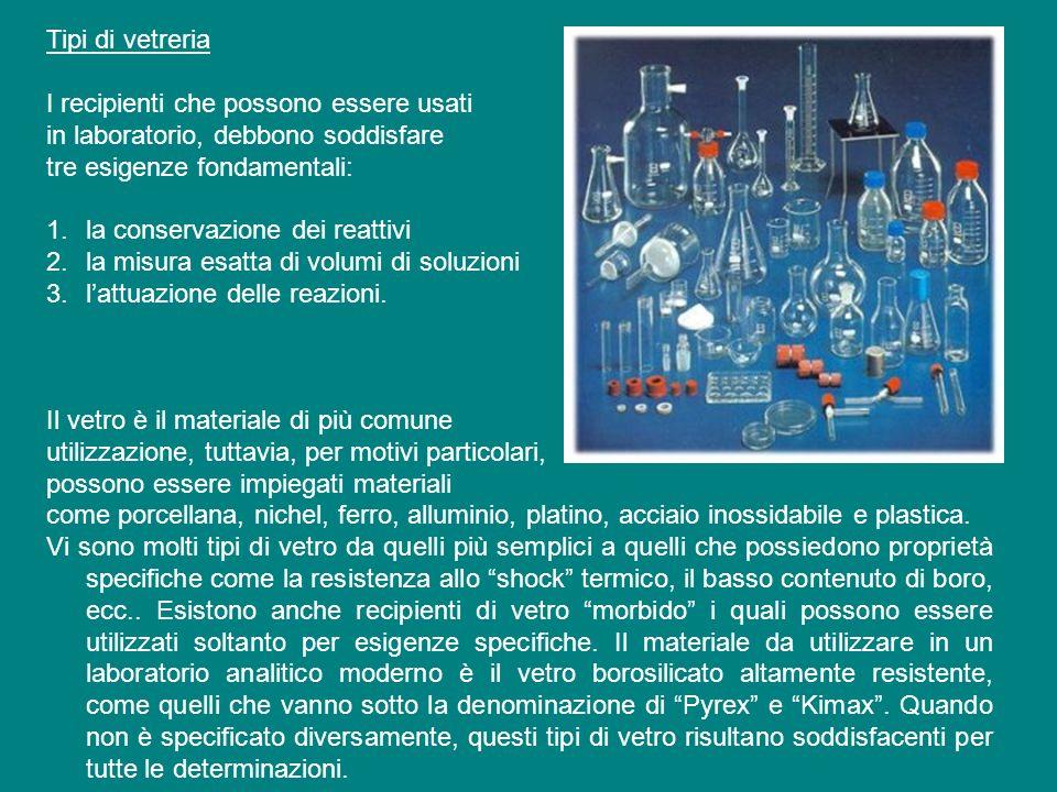 Tipi di vetreria I recipienti che possono essere usati. in laboratorio, debbono soddisfare. tre esigenze fondamentali: