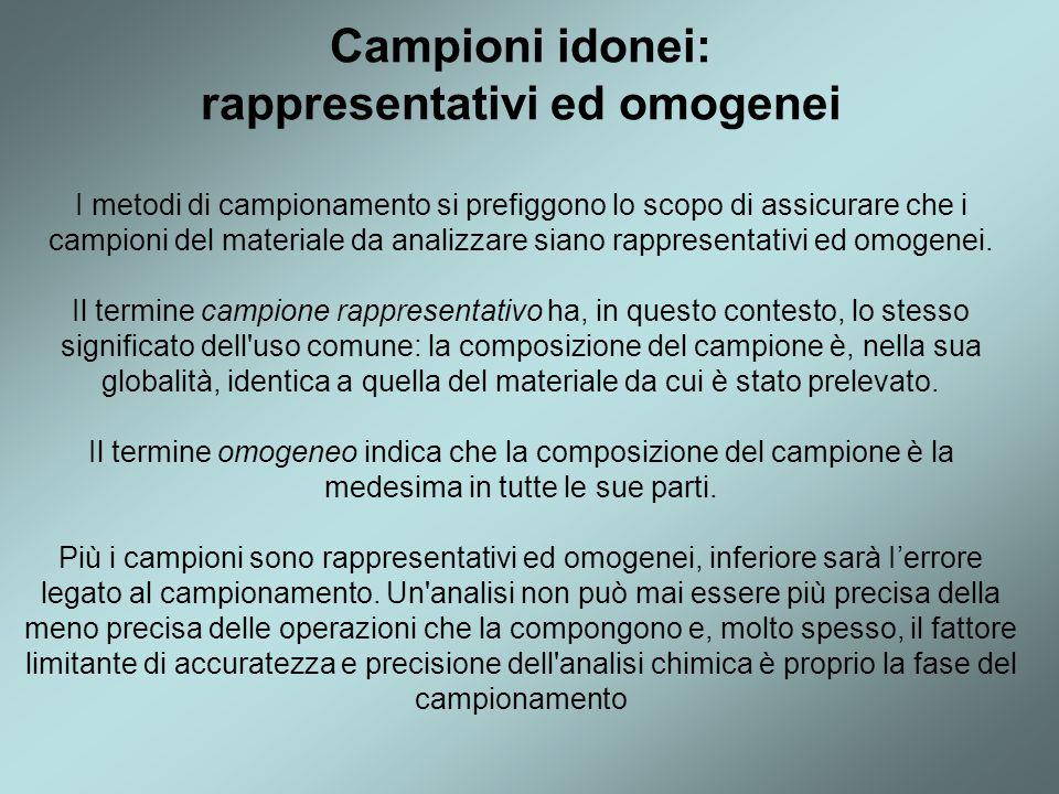 Campioni idonei: rappresentativi ed omogenei I metodi di campionamento si prefiggono lo scopo di assicurare che i campioni del materiale da analizzare siano rappresentativi ed omogenei.