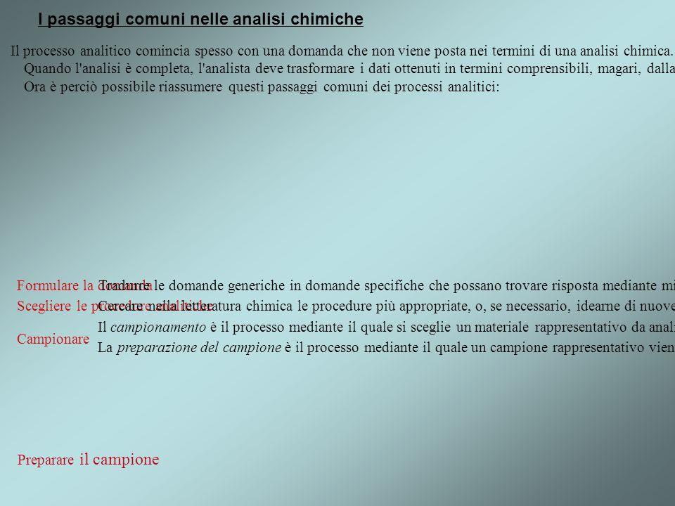 I passaggi comuni nelle analisi chimiche