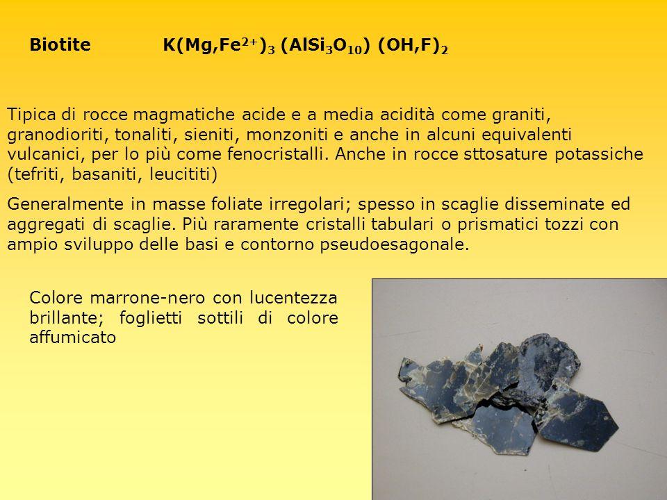 Biotite K(Mg,Fe2+)3 (AlSi3O10) (OH,F)2
