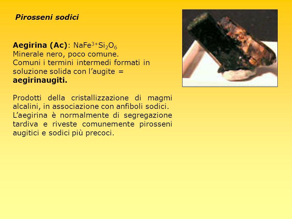 Pirosseni sodici Aegirina (Ac): NaFe3+Si2O6. Minerale nero, poco comune.