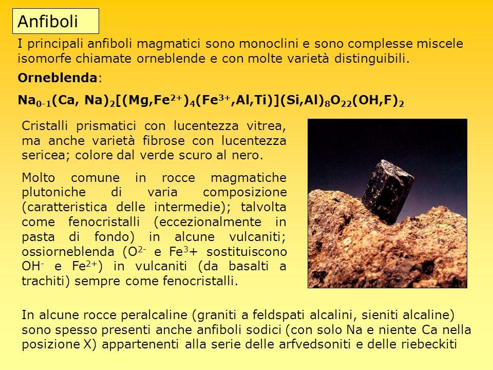 Anfiboli I principali anfiboli magmatici sono monoclini e sono complesse miscele isomorfe chiamate orneblende e con molte varietà distinguibili.