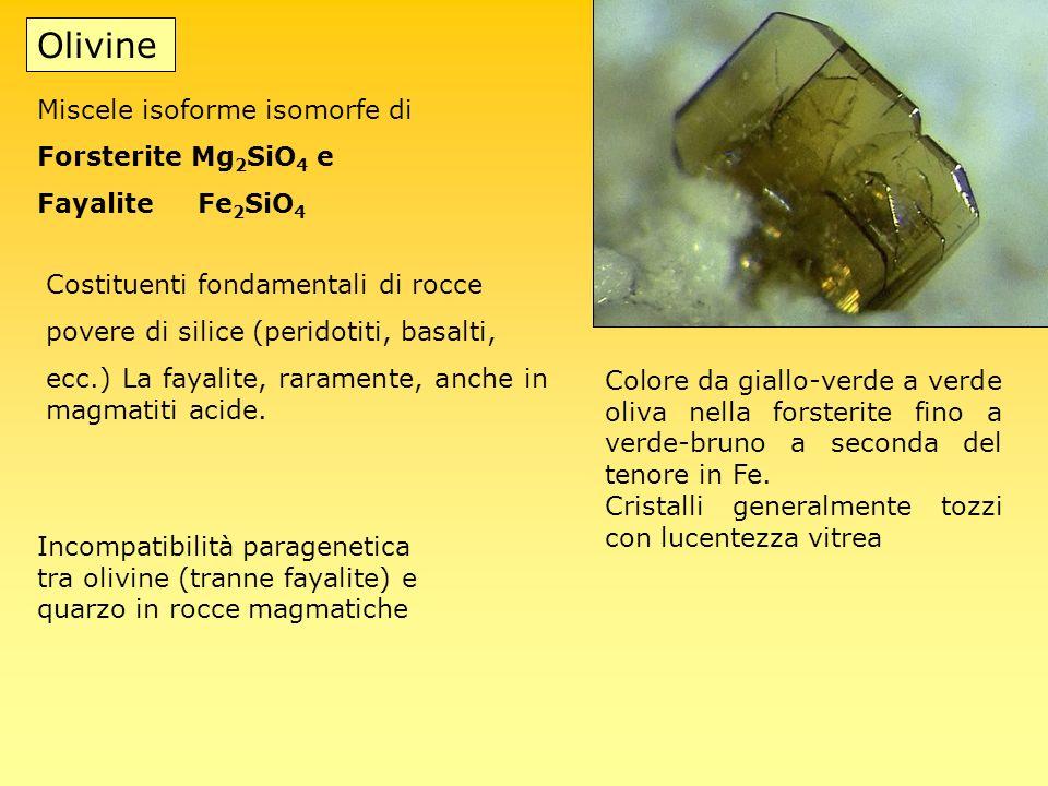 Olivine Miscele isoforme isomorfe di Forsterite Mg2SiO4 e