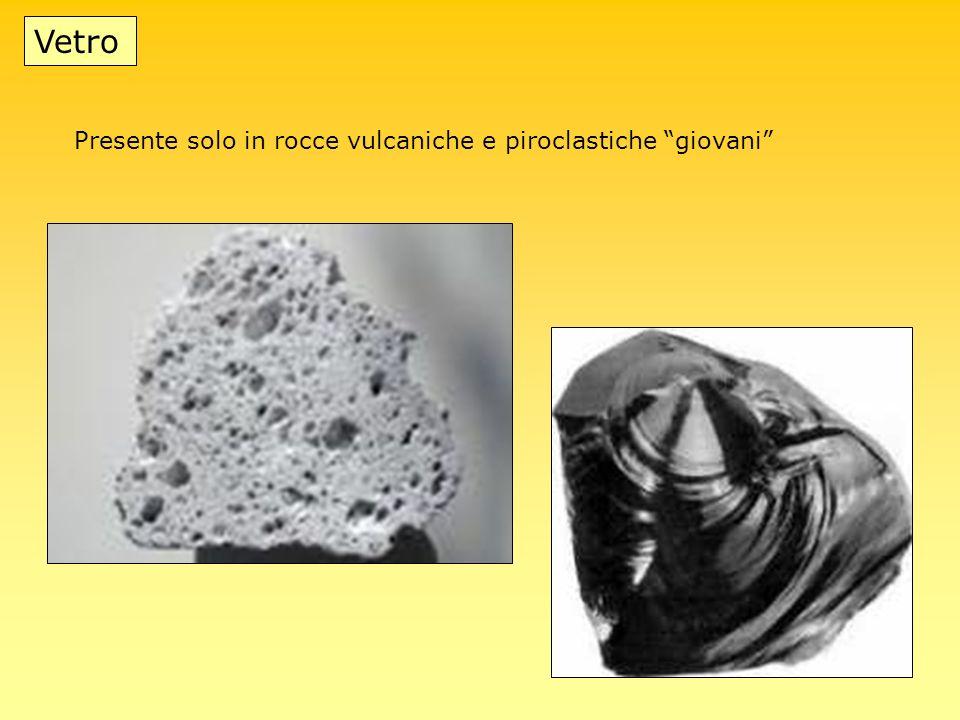 Vetro Presente solo in rocce vulcaniche e piroclastiche giovani