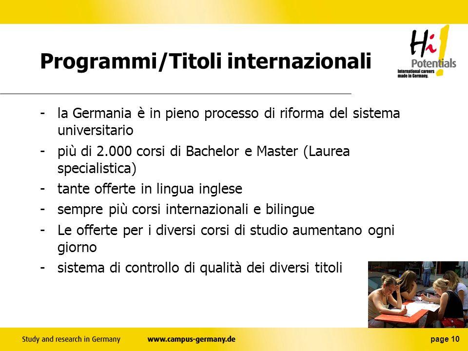 Programmi/Titoli internazionali