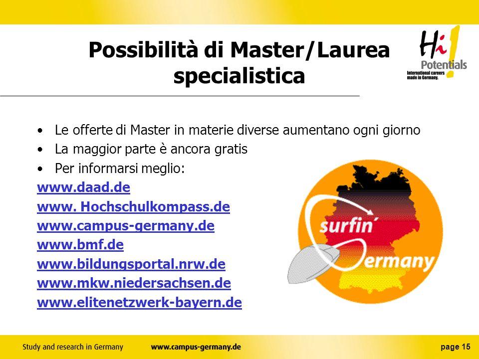 Possibilità di Master/Laurea specialistica