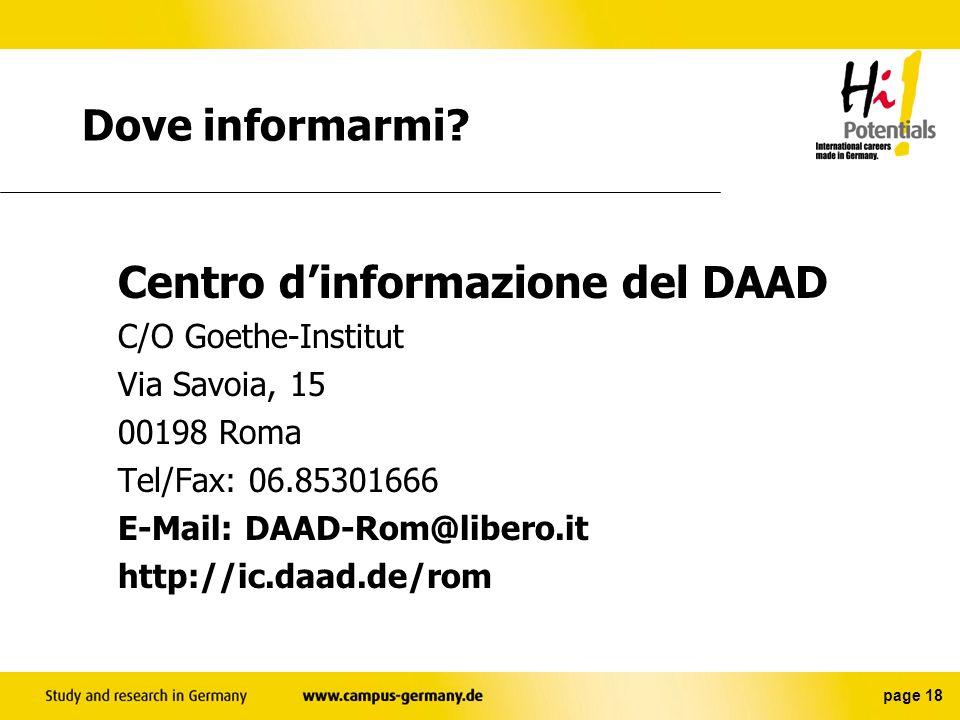Dove informarmi Via Savoia, 15 00198 Roma Tel/Fax: 06.85301666