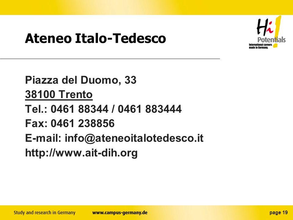 Ateneo Italo-Tedesco Piazza del Duomo, 33 38100 Trento