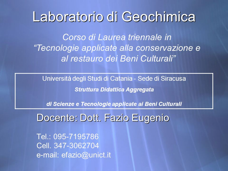 Laboratorio di Geochimica