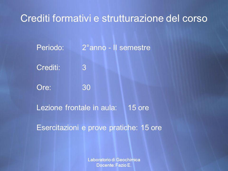 Crediti formativi e strutturazione del corso