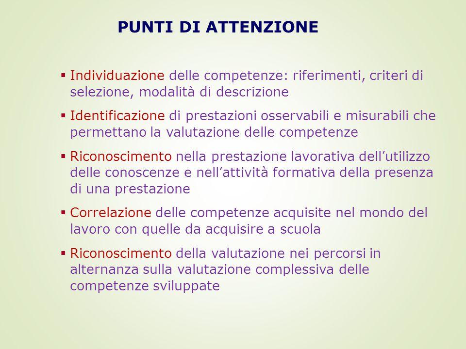 PUNTI DI ATTENZIONE Individuazione delle competenze: riferimenti, criteri di selezione, modalità di descrizione.
