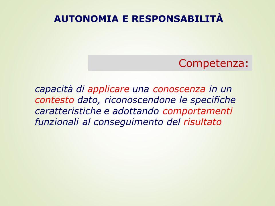 AUTONOMIA E RESPONSABILITÀ