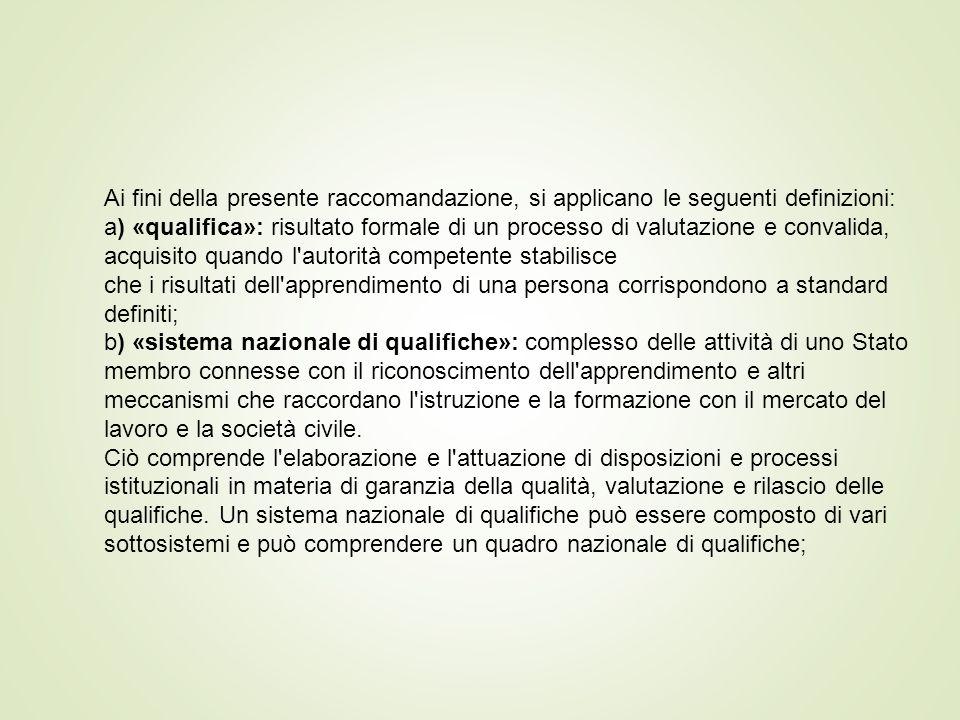 Ai fini della presente raccomandazione, si applicano le seguenti definizioni: