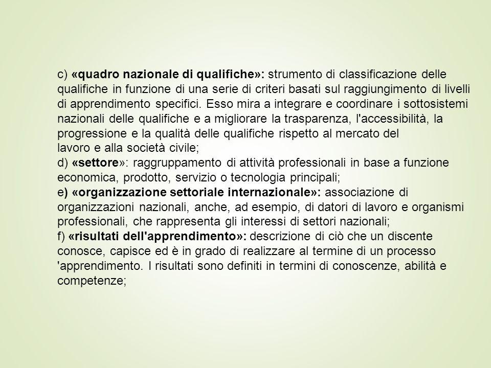 c) «quadro nazionale di qualifiche»: strumento di classificazione delle qualifiche in funzione di una serie di criteri basati sul raggiungimento di livelli di apprendimento specifici. Esso mira a integrare e coordinare i sottosistemi nazionali delle qualifiche e a migliorare la trasparenza, l accessibilità, la progressione e la qualità delle qualifiche rispetto al mercato del