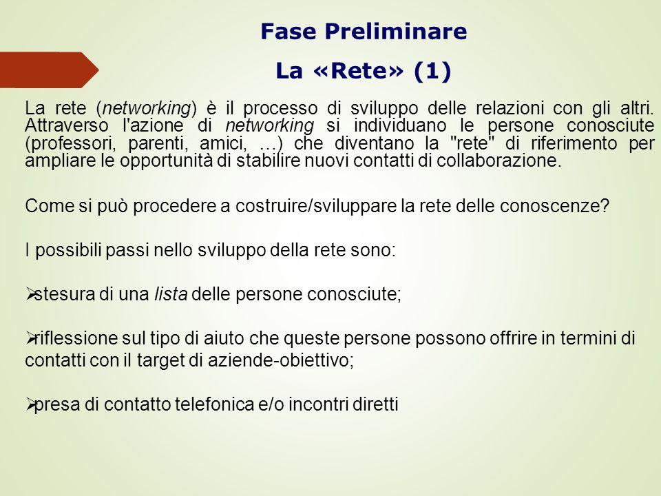 Fase Preliminare La «Rete» (1)