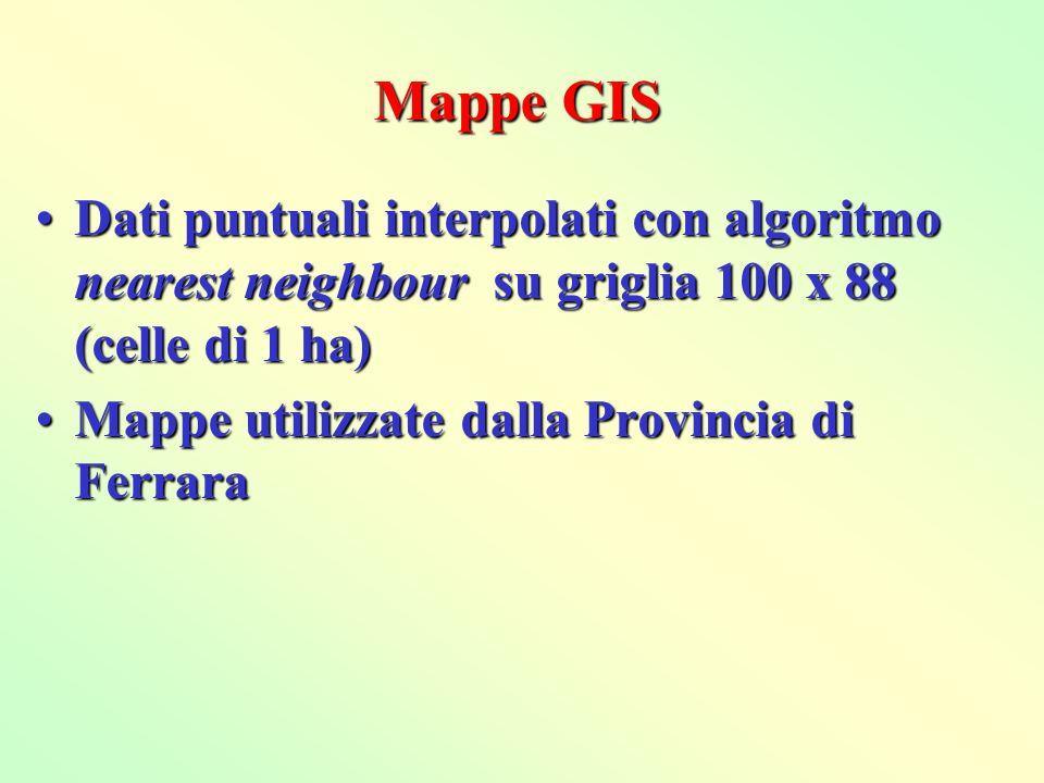 Mappe GISDati puntuali interpolati con algoritmo nearest neighbour su griglia 100 x 88 (celle di 1 ha)