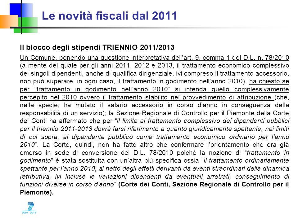 Le novità fiscali dal 2011