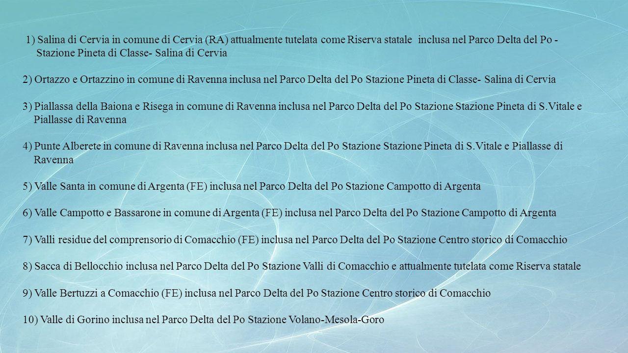 1) Salina di Cervia in comune di Cervia (RA) attualmente tutelata come Riserva statale inclusa nel Parco Delta del Po -