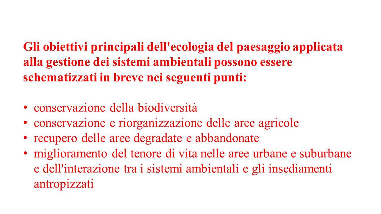 Gli obiettivi principali dell ecologia del paesaggio applicata alla gestione dei sistemi ambientali possono essere schematizzati in breve nei seguenti punti: