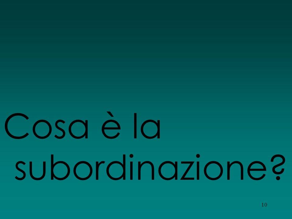 Cosa è la subordinazione