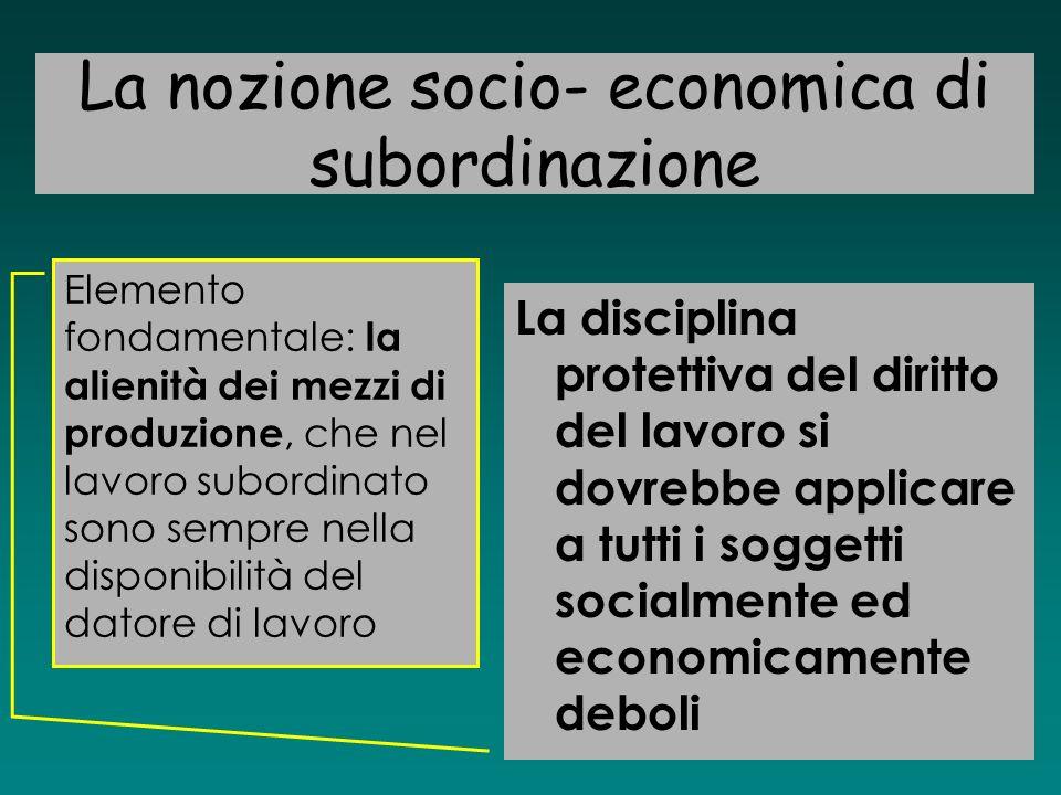 La nozione socio- economica di subordinazione