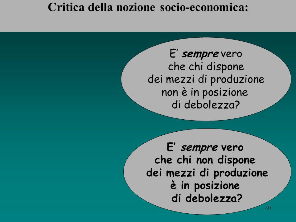 Critica della nozione socio-economica: