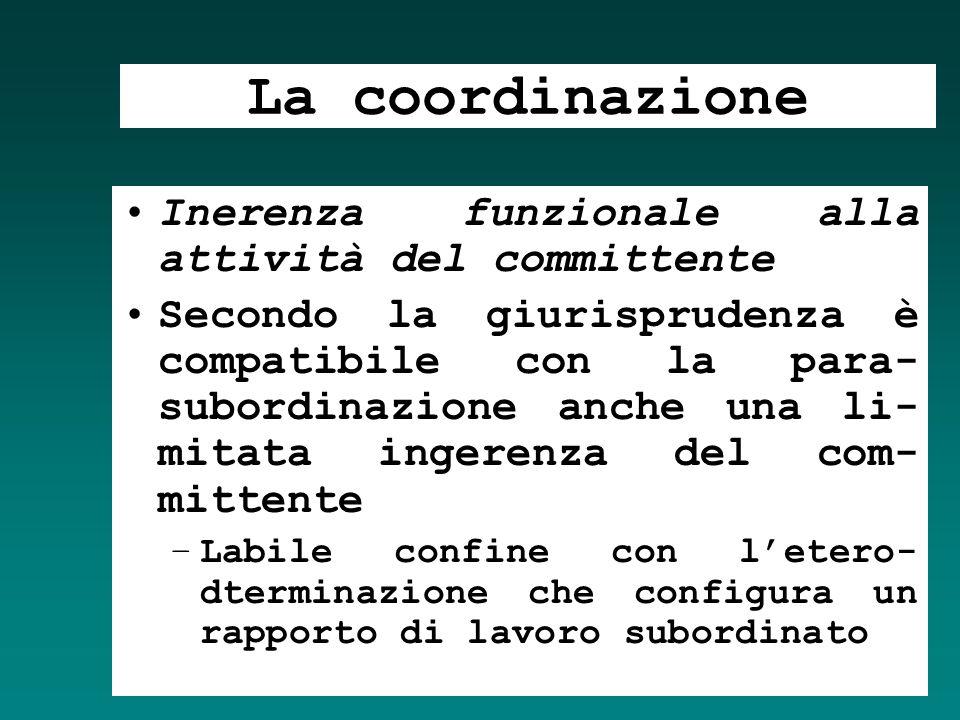 La coordinazione Inerenza funzionale alla attività del committente