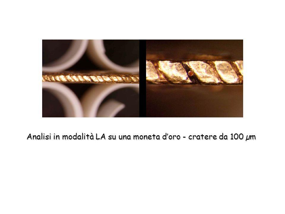 Analisi in modalità LA su una moneta d'oro - cratere da 100 µm