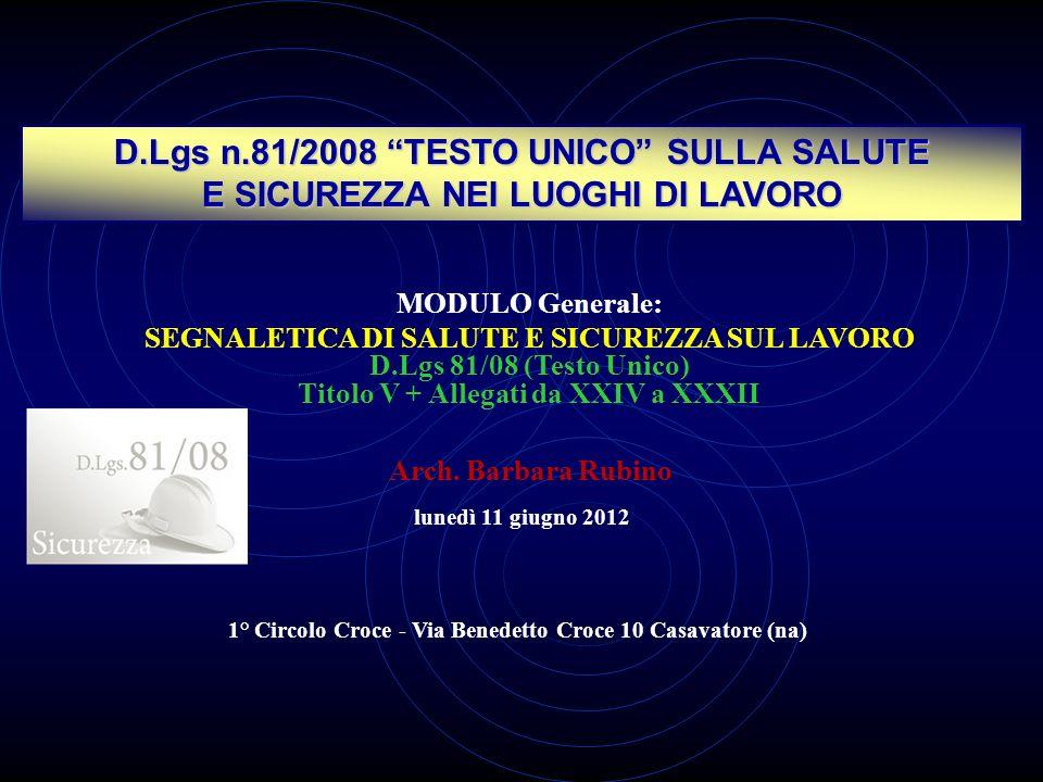 D.Lgs n.81/2008 TESTO UNICO SULLA SALUTE