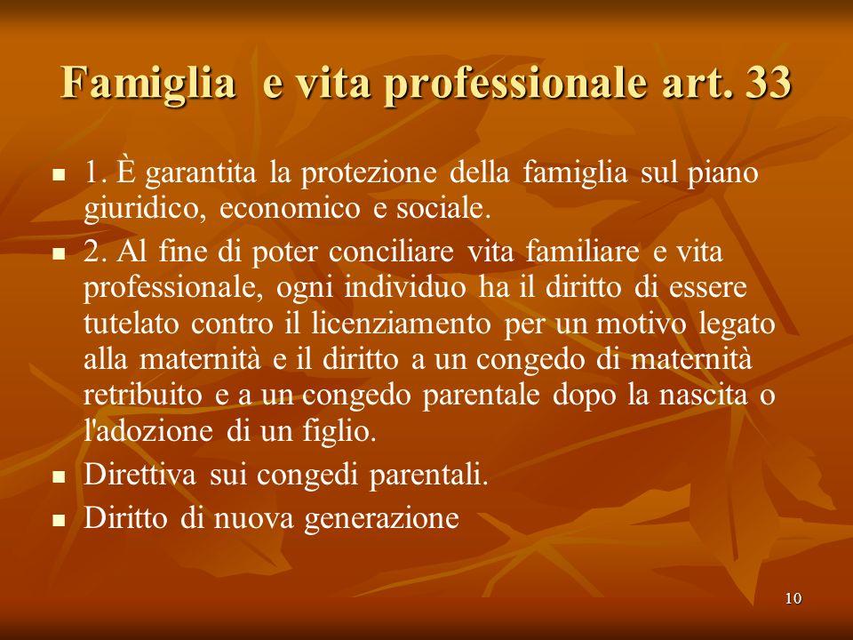 Famiglia e vita professionale art. 33