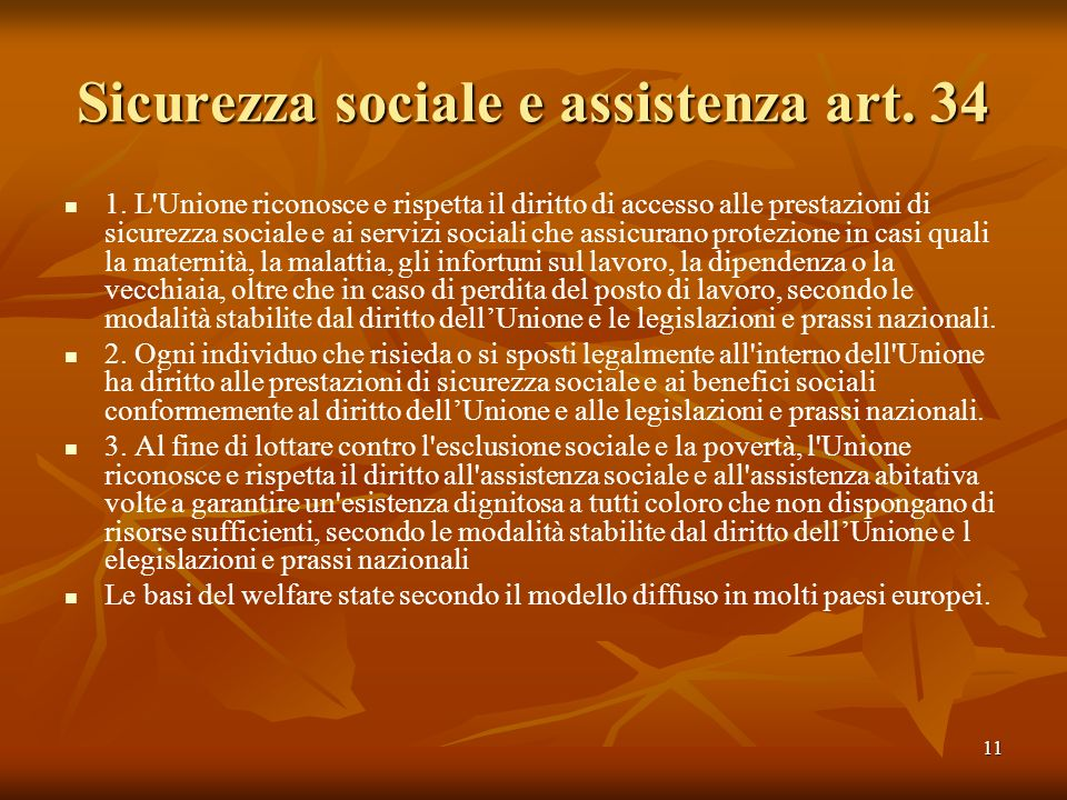 Sicurezza sociale e assistenza art. 34