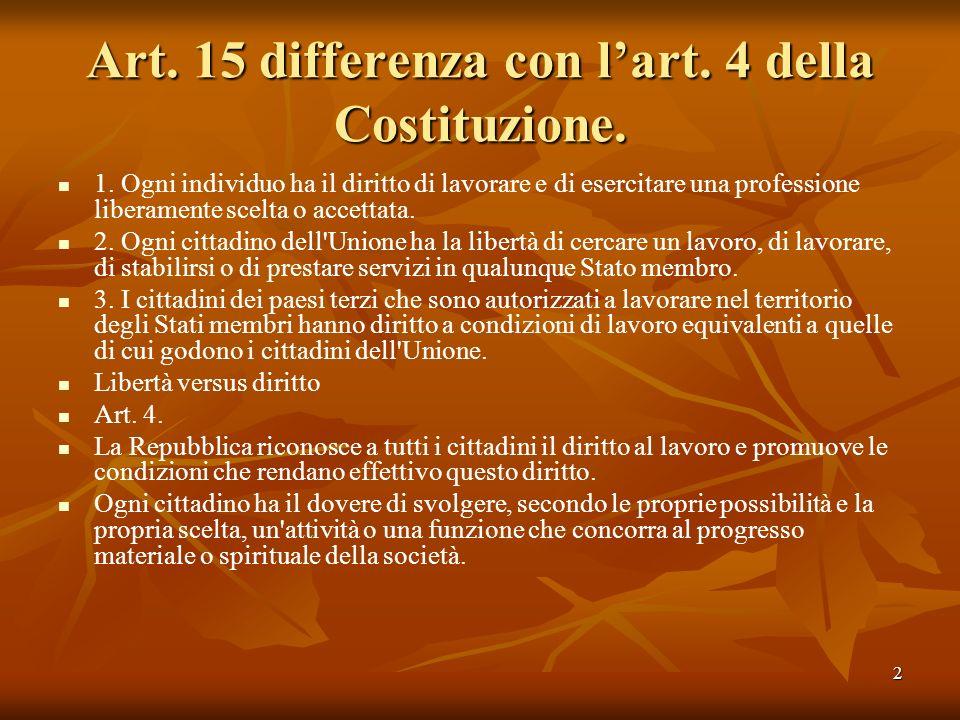 Art. 15 differenza con l'art. 4 della Costituzione.
