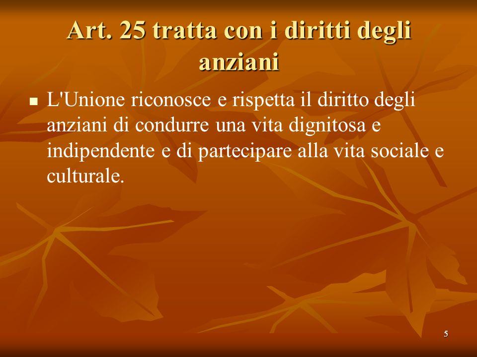 Art. 25 tratta con i diritti degli anziani