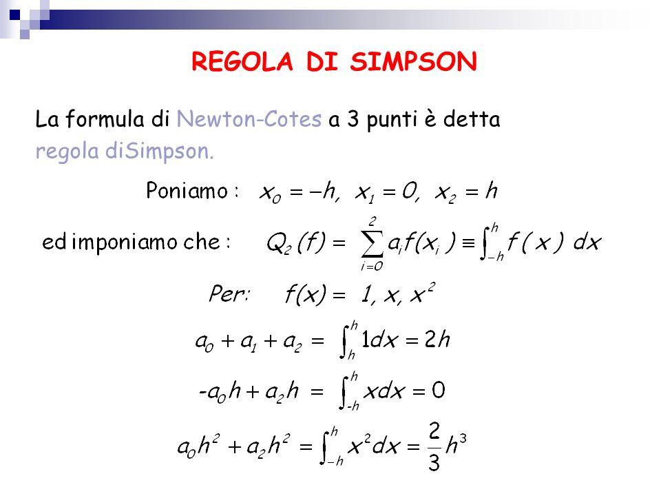 REGOLA DI SIMPSON La formula di Newton-Cotes a 3 punti è detta