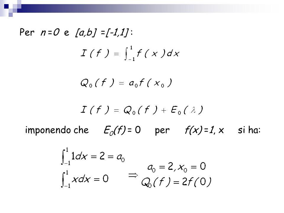 imponendo che E0(f) = 0 per f(x) =1, x si ha: